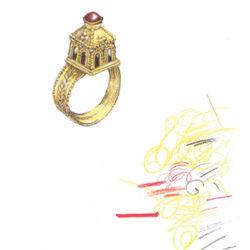 Disegno dell'anello in oro di Egnazia, fine del VI - inizi del VII secolo d.C.