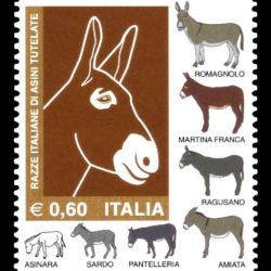 Francobollo dedicato alle razze italiane di asini tutelate